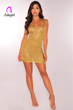 Adogirl rose golden side edge hollow out mini dress sexy semi transparent chest deep v neck club knitted lady short