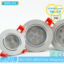 6pcs a lot 110V 220V dimmer Dimmable LED lamp 3W 5W 7W Free shipping lights Recessed led ceiling light Spot white body