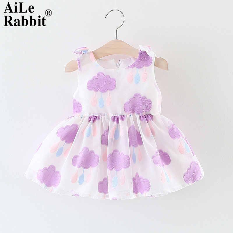 AiLe Rabbit/Коллекция 2018 года; одежда для маленьких девочек; свитер с вышивкой в виде облака; розовое фиолетовое платье без рукавов для малышей; летнее платье