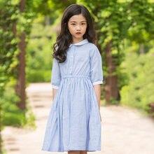 887560bdd5 CHINGROSA Blue Green Striped Pockets Button Girls Dresses Princess Cute Cotton  Summer Dresses Kids Clothing Vestidos Infantil