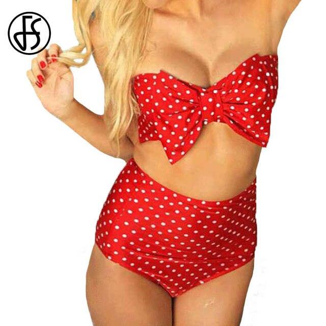 9a188c517ba FS Sexy Polka Dot Bikini Womens Bandeau Push Up Swimwear Bow Two Piece High  Waist Swimsuit