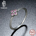 VOROCO 2 Color 100% 925 Sterling Silver Pink & White Clear CZ Romantic Clover Ring Compatible with VRC Fashion Jewelry A7197