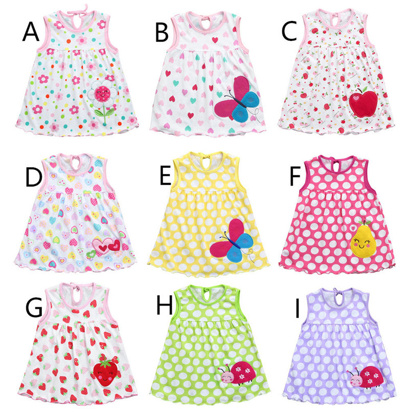 Cute Toddler Baby Girls Dress Summer Clothing Print Cotton A-Line Girl Dresses Sundress Vestidos Roupas Infantis Menina