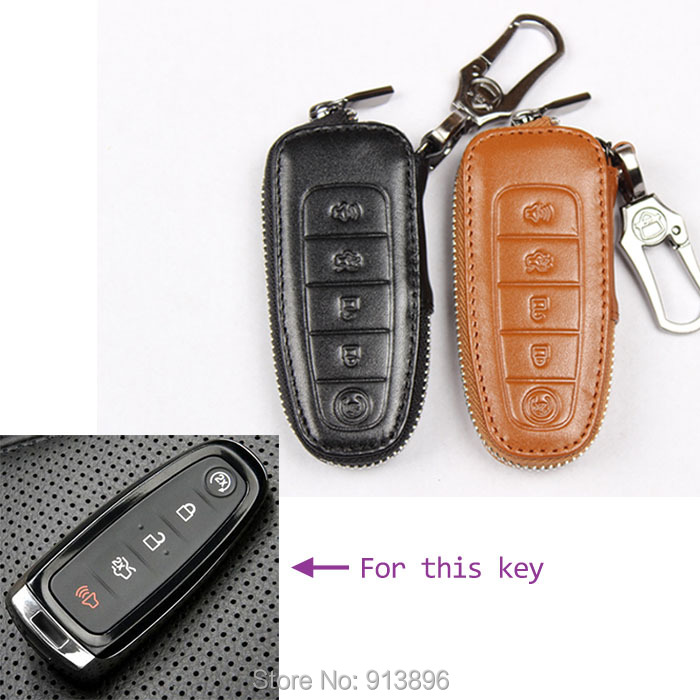 Leather Car Key Case For Ford Edge Escape  Remote Smart Key Fob Cover Key Cover Holder Shell Key Wallet Bag In Key Rings From Automobiles Motorcycles