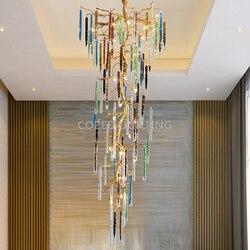 Nowoczesne mosiężny żyrandol oświetlenie oprawa LED żyrandole szklane spadek miedziany żyrandol wiszące światło dla dzienny jadalnia Decor|Żyrandole|   -