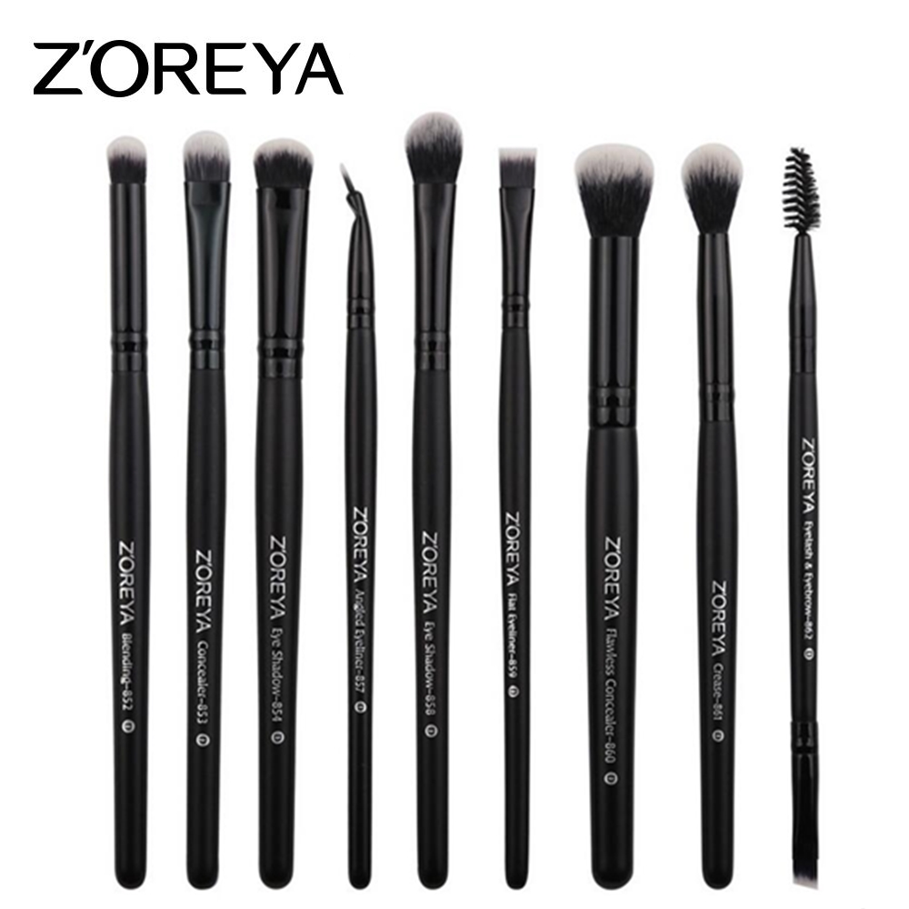 ZOREYA 9pcs/set Makeup Brushes Sets for Eye Powder Blending Blusher Make Up Brush Eyeshadow Makeup Cosmetic Tool Kits Maquiagem