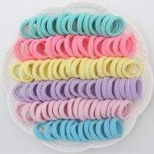 100 шт./лот, новые полосатые милые Стильные Детские эластичные резинки для волос, 6 видов цветов, Детские аксессуары для волос для девочек Q987