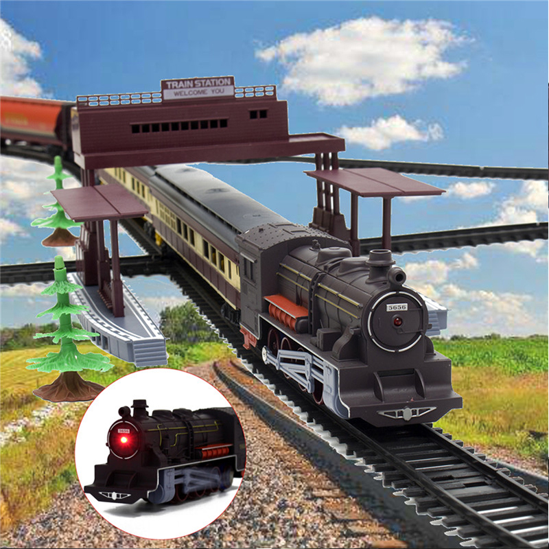 240x101cm Large Electric Classic Station Train Railway Vehicle Model Simulation Track Operated Carriages Children Kids Toy Set