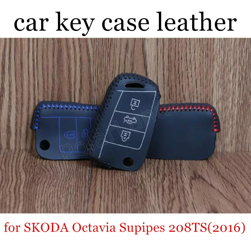 Only Red factory price sale car key case Genuine leather sewing Hand car key cover fit for SKODA Octavia Supipes 208TS(2016)