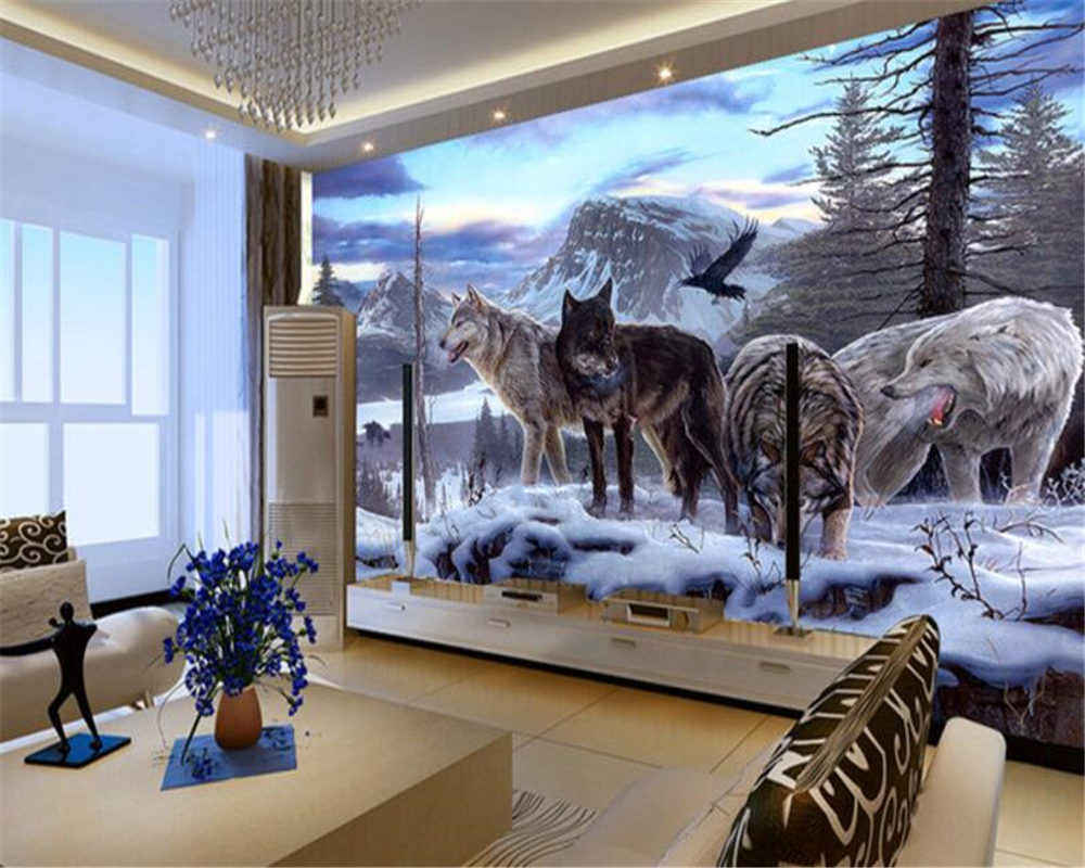 Beibehang Custom Photo Wall Mural 3d Wallpaper Luxury: Beibehang 3d Custom Wallpaper Wolf Group Animal Mural