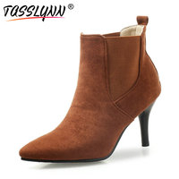 TASSLYNN 2019 Boots Women Autumn Winter Shoes Elastic Band Ankle Boots Ladies Thin High Heels Casual Slip on Shoes Size 34 43