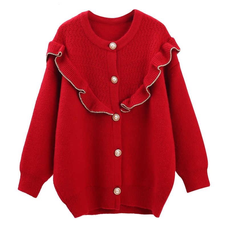Вязаный женский свитер с оборками и кардиган на пуговицах с длинными рукавами, свободные плотные теплые женские красные износоустойчивые кардиганы