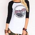 Женщины Crewneck Теплые Мягкие Удобные Свободные Fit Мода Длинные Рукава Ретро Бейсбол Печатных Рубашку Tee Футболка Топ