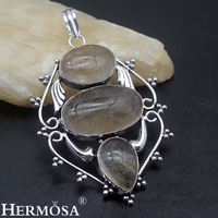 Hermosa Jewelry Beautiful Natural Rutilated Quartz 925 Sterling Silver Classic Retro Style Necklace Pendant HF1519
