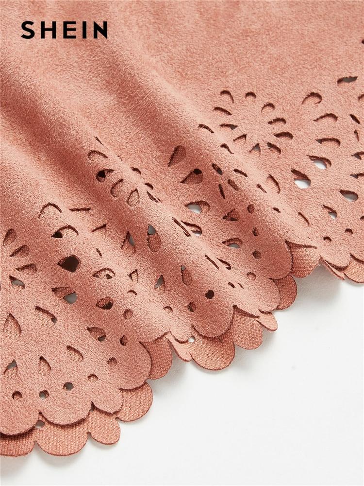 SHEIN Scallop Laser Suede Halter Top Pink Cut Out Backless Women Plain Vest 2018 Summer New
