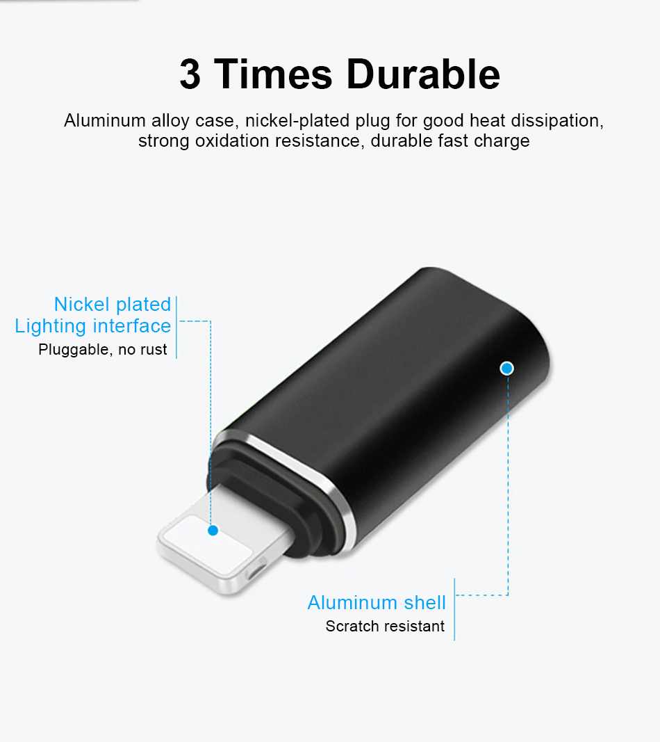 !ACCEZZ For Apple USB OTG Adapter Type-C To lighting For Apple Adapter For iphone X XS XR 8 7 6 5 6S Plus Sync Charger Converter (6)