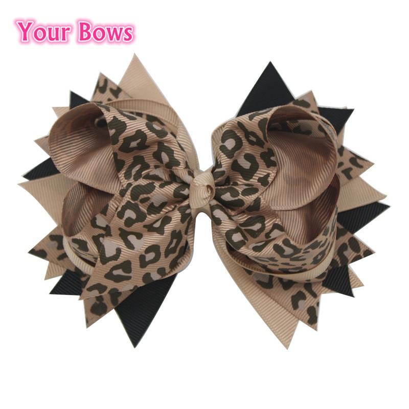 1PC 5.5Inches Black Tan Leopard Print Girls Hair Bows Children Hair Clips Stacked Boutique Bows Toddler Hairpins Headwear