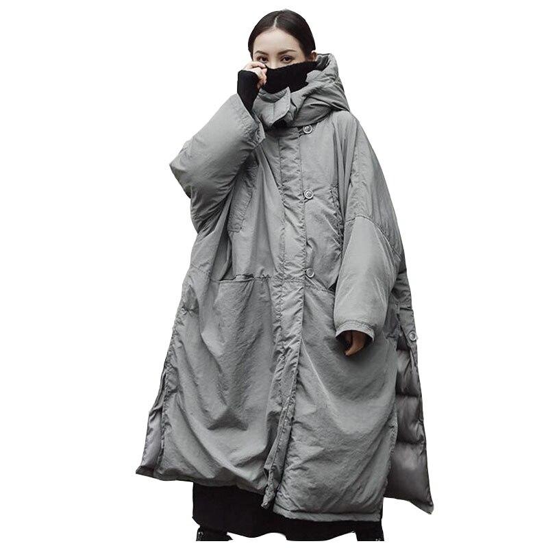 Super grande taille Coton Veste pour Femmes 2018 Hiver Parkas Gris Épais À Capuchon Manteau Fendu Femelle Coton-rembourré vestes OKXGNZ2002
