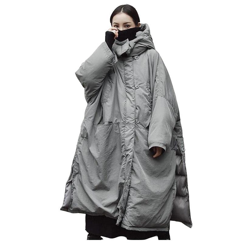 Super grande taille coton veste pour les femmes 2018 hiver Parkas gris épais à capuche manteau Split femme coton-rembourré vestes OKXGNZ2002
