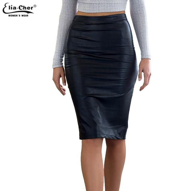 Outono Trabalho de Escritório de Couro Falso PU Lápis Saias mulheres casual plus size roupas saia midi saias Bainha elegante sexy preto