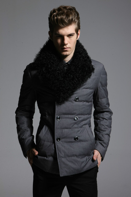 BASIC-EDITIONS 2016 зимой высокого класса марки мужская мода зимний пуховик с бараниной меховой воротник пальто - BC1-060Y бесплатная доставка