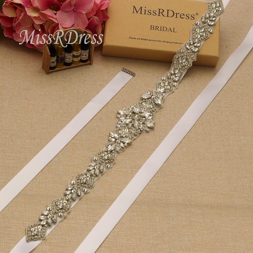 Image 2 - MissRDress Silver Diamond Wedding Belt Handmade Rhinestones Bridal Sash Crystal Pearls Bridal Belt For Wedding Gown JK935-in Bridal Blets from Weddings & Events