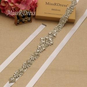 Image 2 - MissRDress Silver Diamond Wedding Belt Handmade Rhinestones Bridal Sash Crystal Pearls Bridal Belt For Wedding Gown JK935