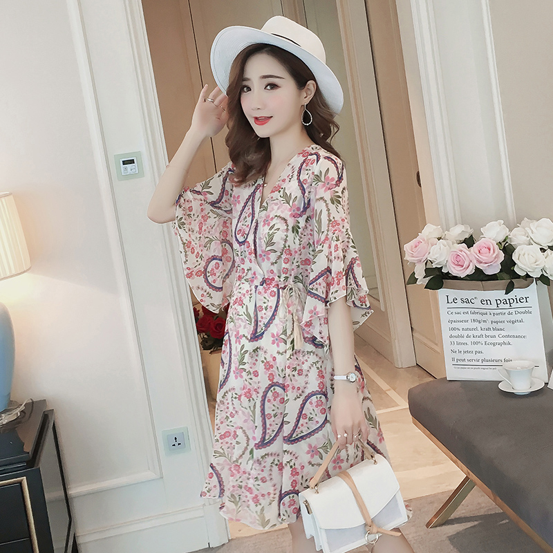 4 Color Floral Maternity Dress Bohemian Pregnancy Clothes 2018 Chiffon Loose Plus Size 3XL Maternity Clothing Of Pregnant Women