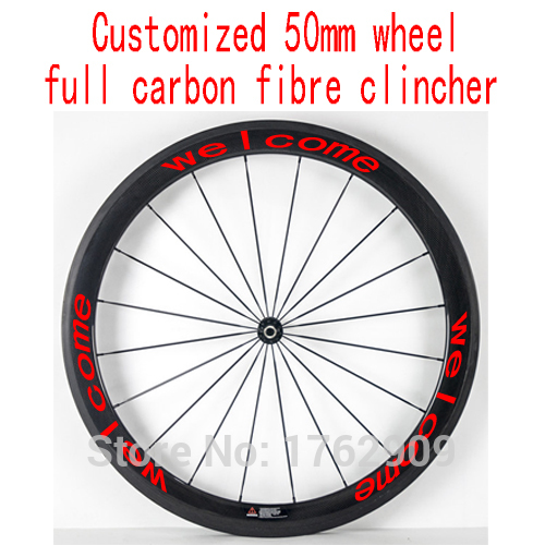 1pcs 700C 50mm clincher rims road Track Fixed Gear bike aero 3K/UD/12K full carbon fibre bicycle wheelsets Free ship carbon fibre road fork 700c alloy crown ud black bicycle forks fixed gear track forks bike parts 1 1 8 28 6mm tube