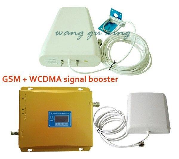 Double bande LCD 3G W-CDMA 2100 MHz GSM 900 Mhz amplificateur de signal de téléphone portable GSM 900 2100 amplificateur de répéteur de Signal de téléphone portable
