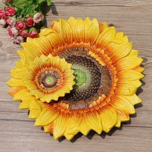 ceramic Creative sunflower fruit plate Candy Storage dish home decor crafts wedding decoration handicraft porcelain figurine