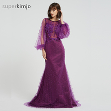 Kimjobridal Prom Dresses Purple 2019 Real Picture Crew Neckline Hand Made Flowers Mermaid Pearls Beaded Evening Arabic
