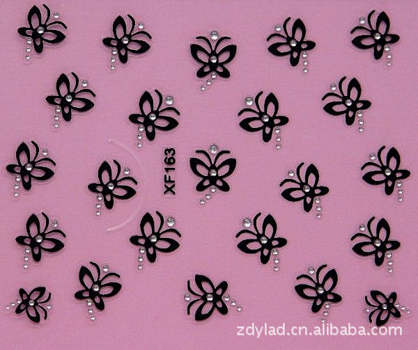 black 3D butterfly design Water Transfer Nails Art Sticker decals lady women manicure tools Nail Wraps Decals XF163