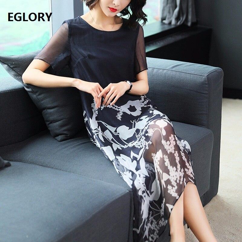 New Brand Vintage Luxury Women Clothing 2018 Spirng Summer Dress European Style Print Asymmetrical Casual Dress 100% Real Silk luxury brand vintage casual 100 page 5