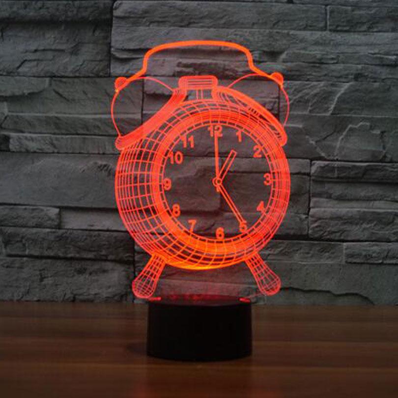 Alarm Clock Lamp 3D LED Night Light for Kids USB Desk Lampara as Besides Light Baby Sleeping Lamp Home Decor with battery power novelty 3d full moon lamp led night light usb rechargeable color changing desk table light home decor 8 10 12 15 18 20cm
