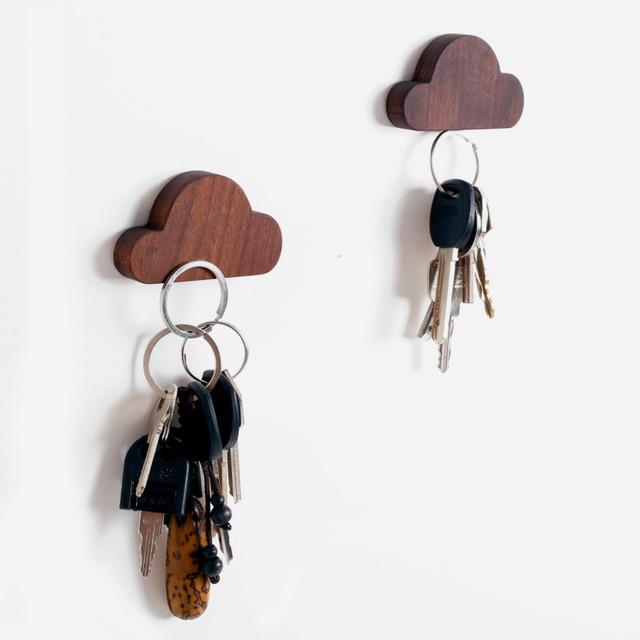 New Creative Clouds Key Hook Magnet Walnut Wood Hook Creative Shelf ...