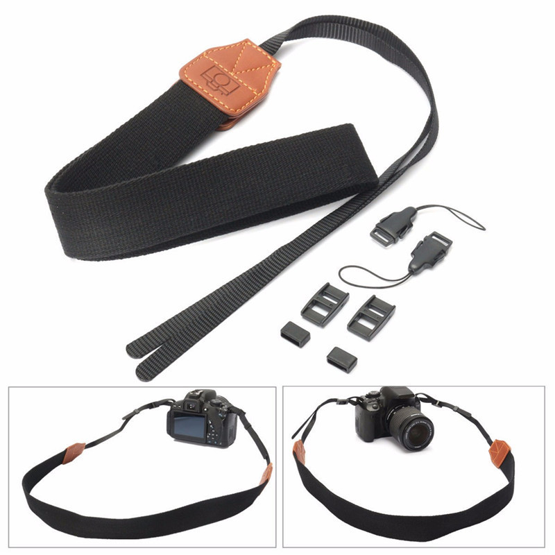 LEORY Hot Nylon Leather DSLR Shoulder Neck Camera Strap Belt For Canon For Nikon For Sony Digital Camera SLR Black Webbing image