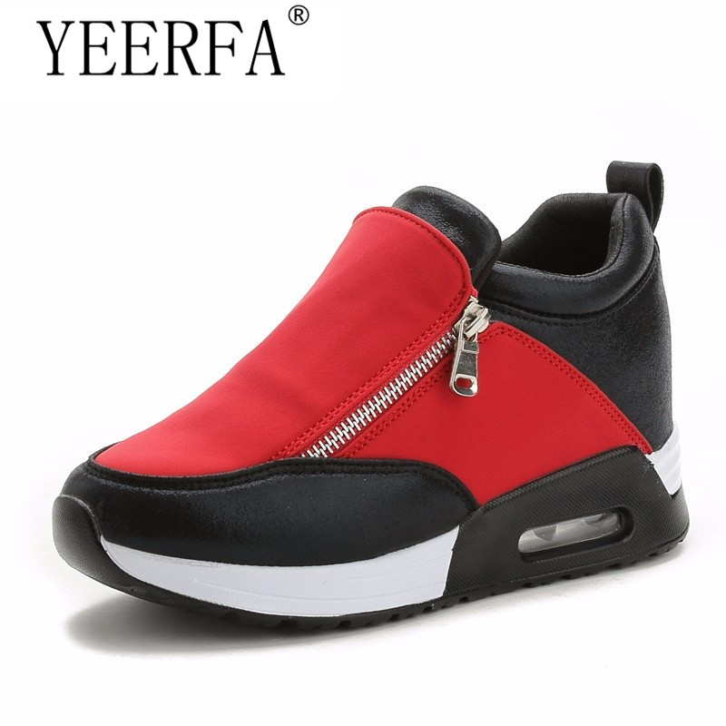 YEERFA Height Increasing shoes woman Tenis Feminino Wedges Platform Women Slipony Casual Shoes Botas Mujer Zipper Sapato women sandals 2017 summer style shoes woman wedges height increasing fashion gladiator platform female ladies shoes casual