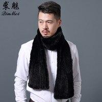 180cm Knitted Genuine Mink Fur Scarf For Men Brand Men's Scarves Wraps Winter Warm Winter Long Scarves Wraps Black Mink Scarf