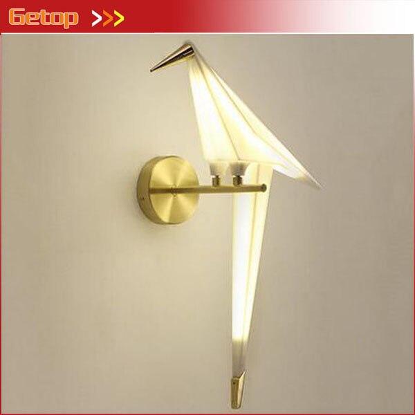 Postmodernen Kreative Vogel Wandleuchte Legierung Papier Kran Wohnzimmer Gang Lampe Schlafzimmer Nachttischlampen Korridor Beleu