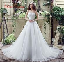 Romantikus Plus Size esküvői ruha fehér / Ivory Sweep vonat Organza Ball Gown esküvői ruhák piros Vissza csipke esküvői ruhák