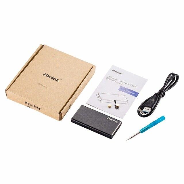 Zheino Половина Размер mSATA и mSATA SSD Для USB 3.0 Алюминиевый внешний Адаптер Конвертер Корпус с USB 3.0 Кабель для Передачи Данных Черный