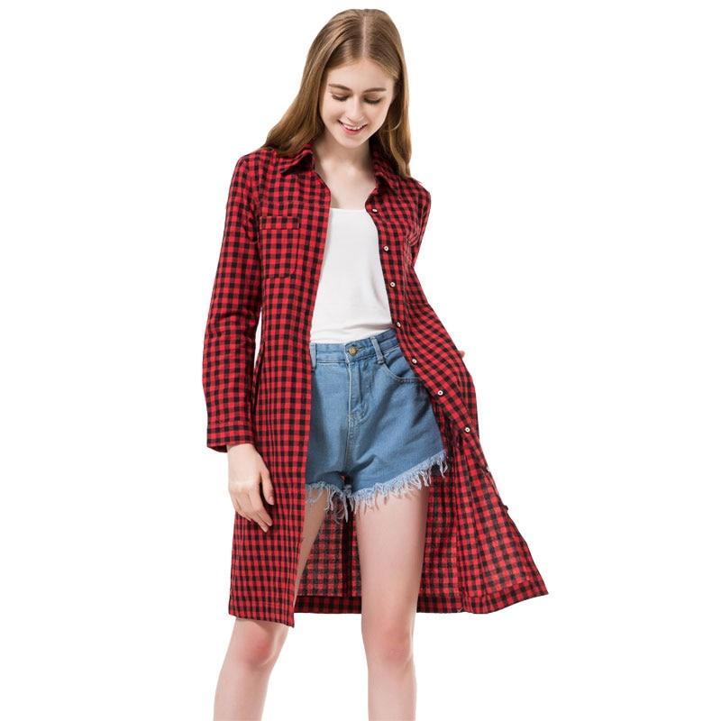 Dioufond Կանանց երկար վերնաշապիկներով նորաձևություն Red Red Plaid Blues Long Shirt Slim Fit Կանացի հագուստ Աշնանային Պատահական Chemise Femme Longue 2018