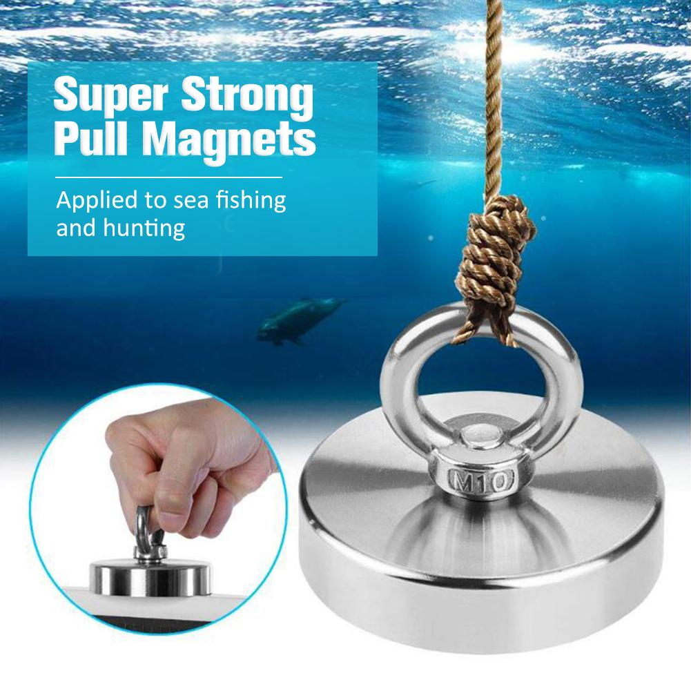 520KG Strong Powerful Neodymium Magnet Hook Salvage Magnet River Fishing Equipments Holder Pulling Mounting Pot With Ring