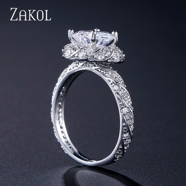 ZAKOL Fashion Women Wedding Ring Sparkling Perfect Round Cut Zircon Stone Anneaux Female Party Jewelry FSRP2044