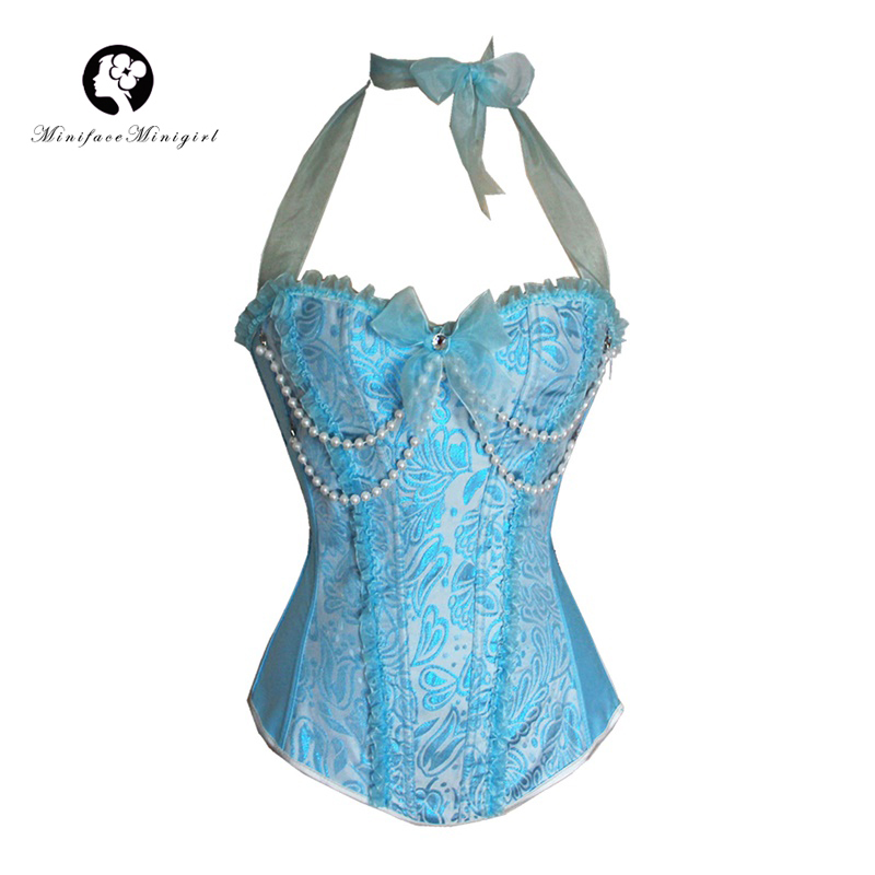 Sexy   Corset   Pink Blue Steampunk Corselet Women   Corsets   and   Bustiers   Body Lace Up Sexy Lingerie Beaded Halter Overbust   Bustier