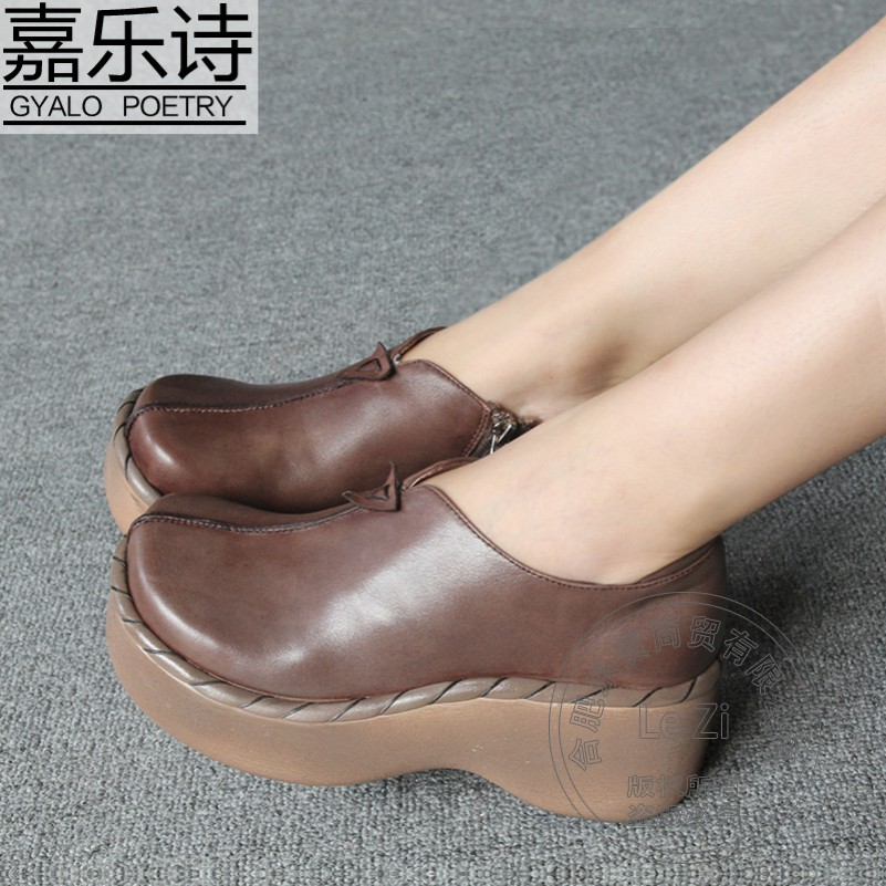 Plain Soft Leather Muffin Shoes Big Head Traditional Manual Retro Pure Color Full Grain Leather Side
