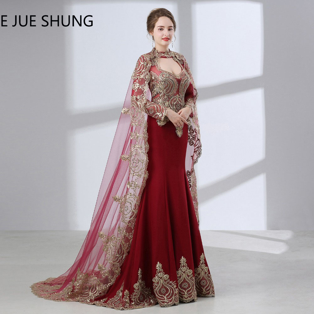 E Jue Shung Burgundy Arabic Mermaid Evening Dresses With
