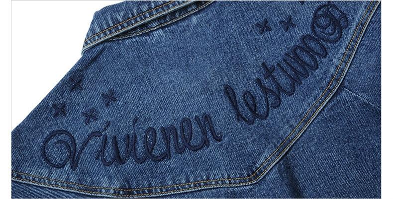 Femmes Base Lettre Veste Femelle 2018 Denim Mince Jean Sleeve Sleeve Style long Manteau Coton Boyfriend Vestes Manteaux threequarter Threequarter Revers Sleeve De Broderie Lyfzous 0wtZq6Ix4w