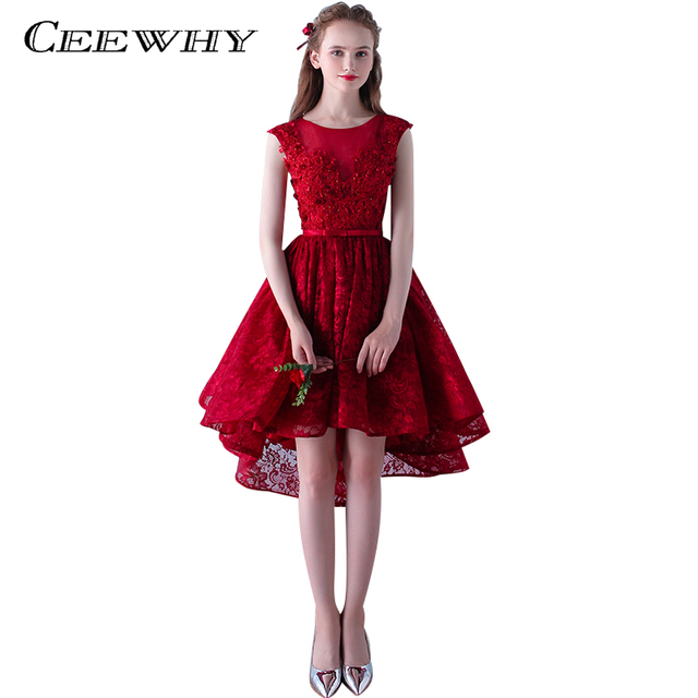 CEEWHY Evening dress 2018 Burgundy Design the Banquet Dress Embroidery  Beading Plus Size Lace Formal Dress Short evening Gown 74f5276391dc